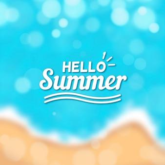 Verschwommenes hallo-sommer-schriftzugdesign