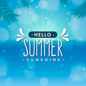 Verschwommenes hallo-sommer-schriftzugkonzept