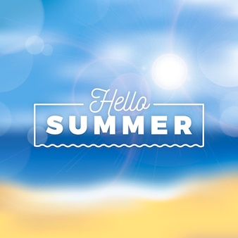 Verschwommenes hallo-sommer-schriftzugsthema