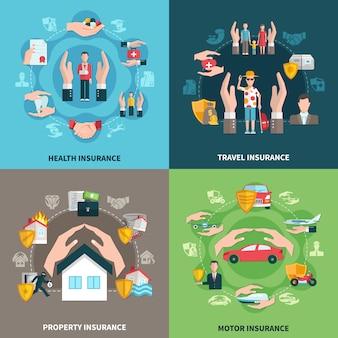 Versicherungs-illustrationssatz