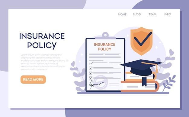 Versicherungs-web-banner. idee der sicherheit und des schutzes der bildung. universität und lernsicherheit.