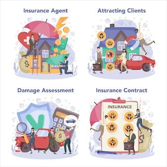 Versicherungsagenten-konzeptsatz Premium Vektoren