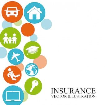 Versicherungsdesign über weißer hintergrundvektorillustration