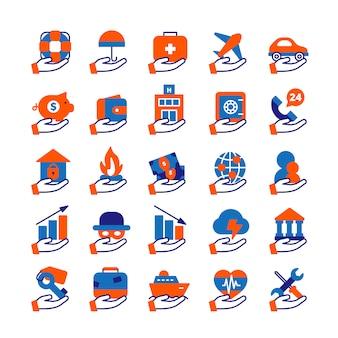 Versicherungsdienst-icons set