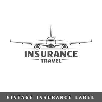 Versicherungsetikett lokalisiert auf weißem hintergrund. element. vorlage für logo, beschilderung, branding.