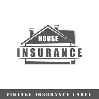 Versicherungsetikett lokalisiert auf weißem hintergrund. gestaltungselement. vorlage für logo, beschilderung, branding-design.