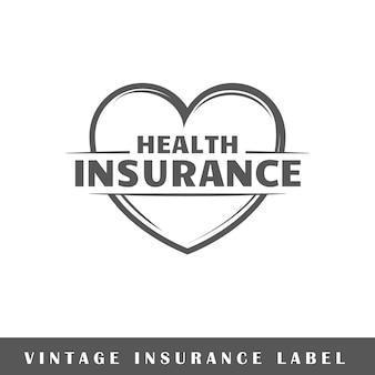 Versicherungsetikett lokalisiert auf weißem hintergrund