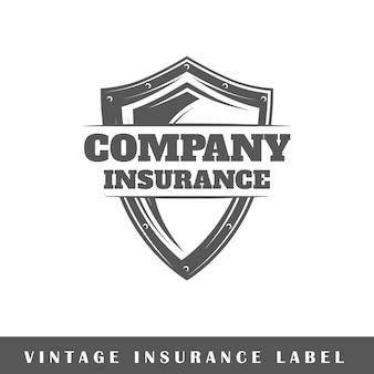 Versicherungsetikett lokalisiert auf weißem hintergrund.