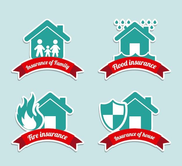 Versicherungsetiketten über blauer hintergrundvektorillustration