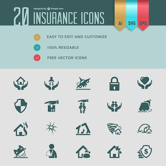 Versicherungsflach vektor-icons
