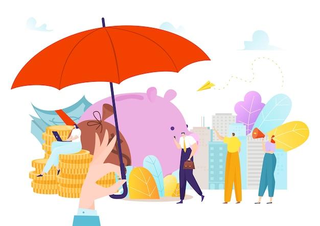Versicherungsgeldschutz mit regenschirm