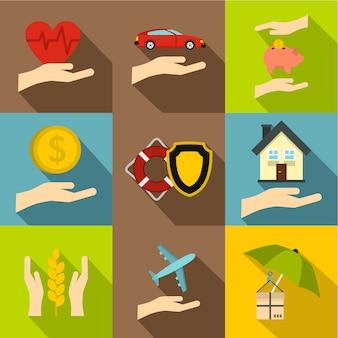 Versicherungsikonensatz, flache art Premium Vektoren