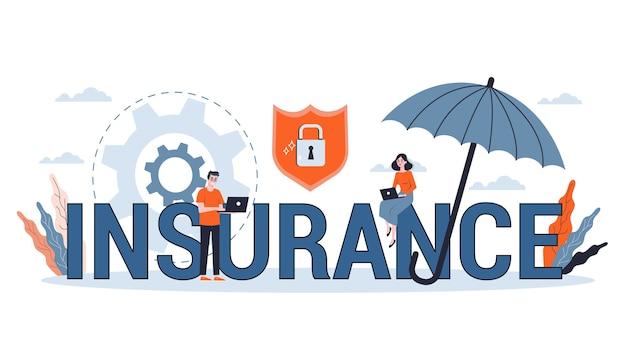Versicherungskonzept. idee der sicherheit und des schutzes von eigentum und leben vor beschädigung. illustration im cartoon-stil