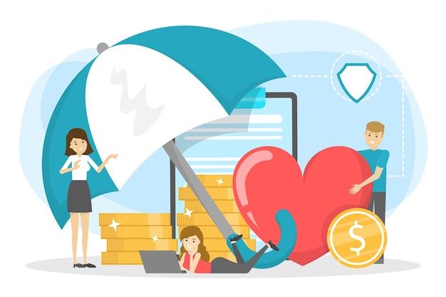 Versicherungskonzept. idee von sicherheit und schutz