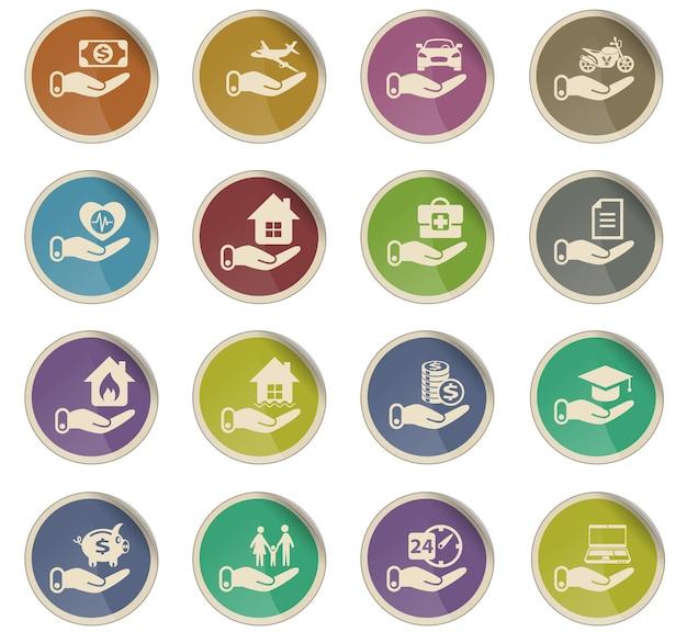 Versicherungsvektorsymbole in form von runden papieretiketten