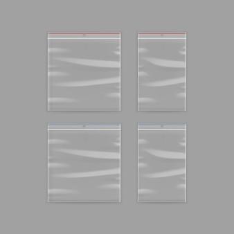 Versiegelte leere transparente plastiktüte mit reißverschluss auf hintergrund