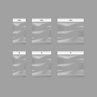 Versiegelte leere transparente plastiktüten mit aufhängefach