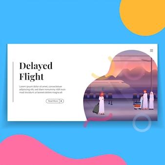Verspäteter flug in der flughafen-landing page-vorlage