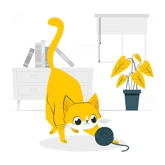 Verspielte katzenkonzeptillustration