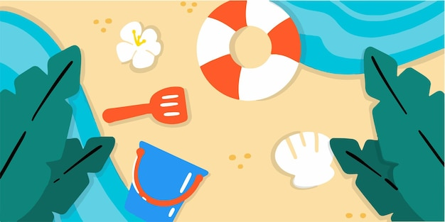 Verspielte und lustige strandküsten-doodle-illustration exklusiv illustration