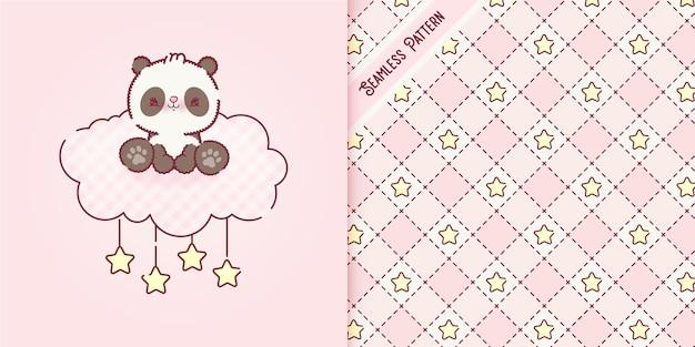Verspielter babypandabären-cartoon auf einer rosa wolke und einem nahtlosen muster-premium-vektor