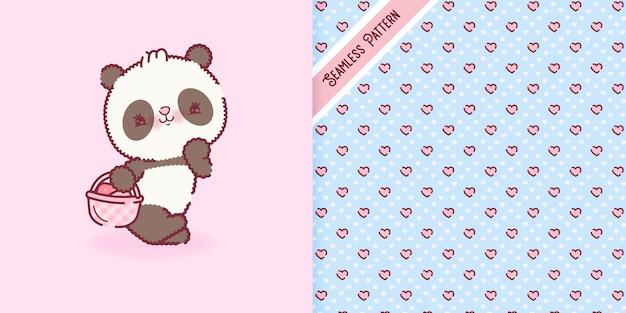 Verspielter babypandabären-cartoon mit herzmuster-premium-vektor