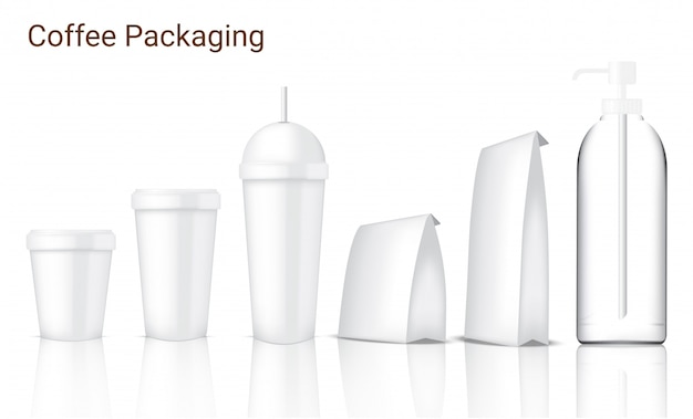 Verspotten sie herauf die realistische kaffee-verpackung mit dem glas, schale, tasche und flasche, die auf weißen hintergrund eingestellt werden