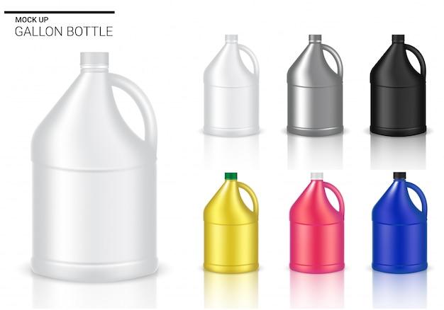 Verspotten sie herauf flaschen-realistisches plastikgallonen-verpackungsprodukt für chemische lösung oder milchflasche lokalisierten hintergrund.
