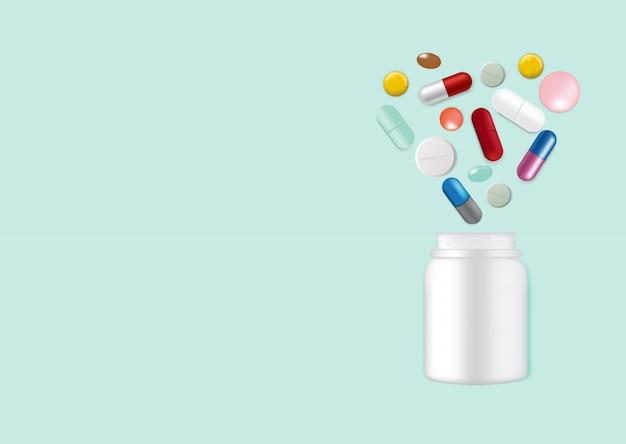 Verspotten sie herauf realistische pillen-medizin-herz-form mit weißer glasflasche