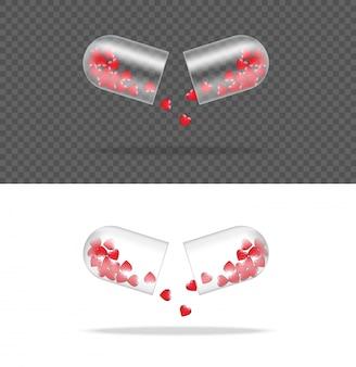 Verspotten sie herauf realistische transparente pillen-medizin-kapsel-platte mit herzen auf weißem hintergrund.