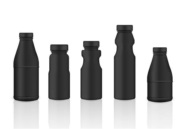 Verspotten sie realistische schwarze plastikverpackungs-produkt-flasche