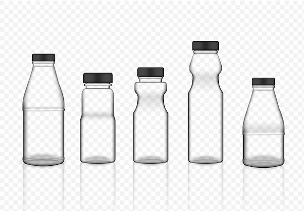Verspotten sie realistische transparente plastikverpackungs-flasche