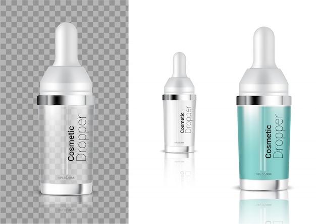 Verspotten sie realistische transparente tropfflaschen-kosmetik