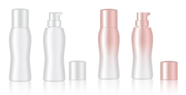 Verspotten sie realistische weiße und rosafarbene goldkosmetische flaschen