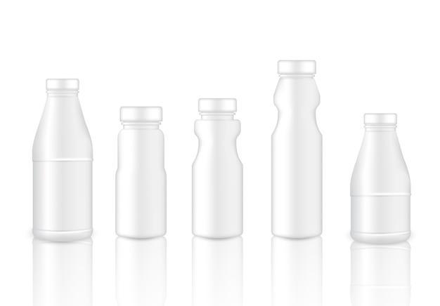 Verspotten sie realistisches plastikverpackungsprodukt für milchflasche