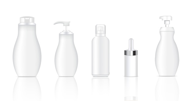 Verspotten sie realistisches weißes spray, tropfenzähler, kosmetische flaschen der pumpe