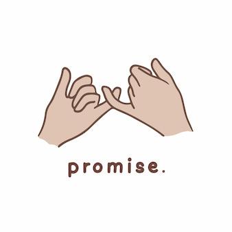 Versprechen hand geste symbol social media post vektor illustration