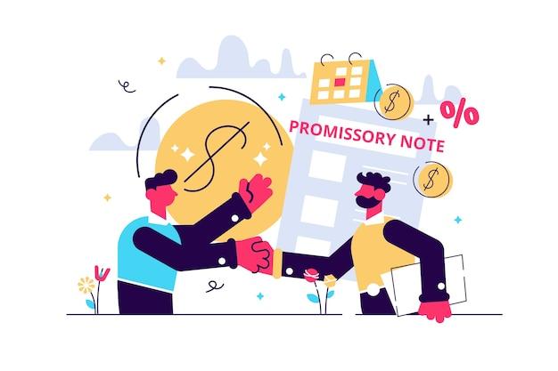 Versprich zu zahlen. geldausleihdokument. kreditgeschäft, rechtsvertrag.