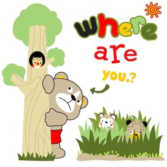 Verstecken und suchen cartoon-vektor