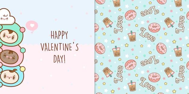 Versteckte kinder, die einen glücklichen valentinstag mit nahtlosem muster wünschen