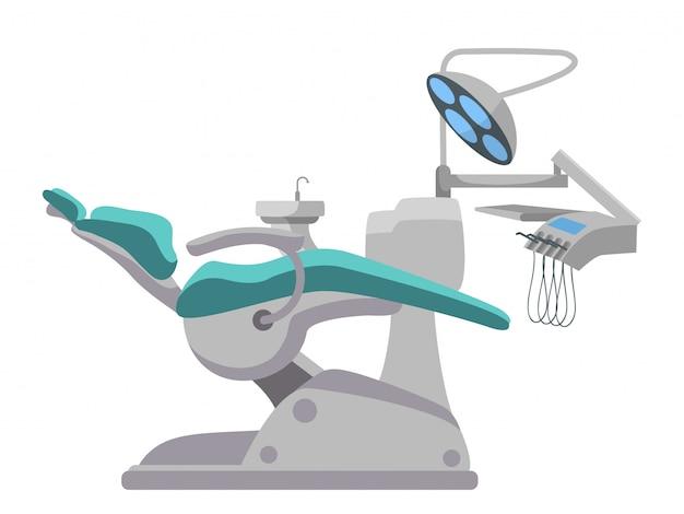 Verstellbarer zahnärztlicher operationsstuhl isoliert auf weiß