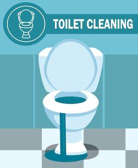 Verstopfte toilettenschüssel-leckage-vektor-illustration