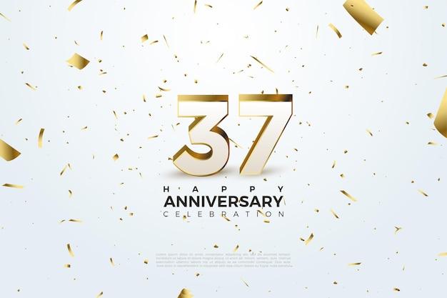 Verstreute zahlen und goldfolie zum 37-jährigen jubiläum