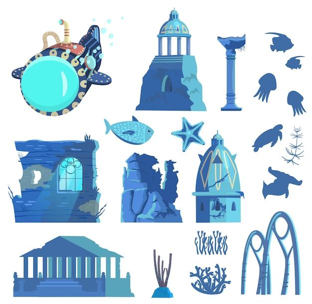 Versunkene ruinen von u-boot-unterwassertieren und pflanzen-silhouetten der antiken stadt