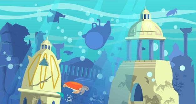 Versunkene stadt atlantis mit bathyscaphe-unterwassertieren und felsen auf dem hintergrund