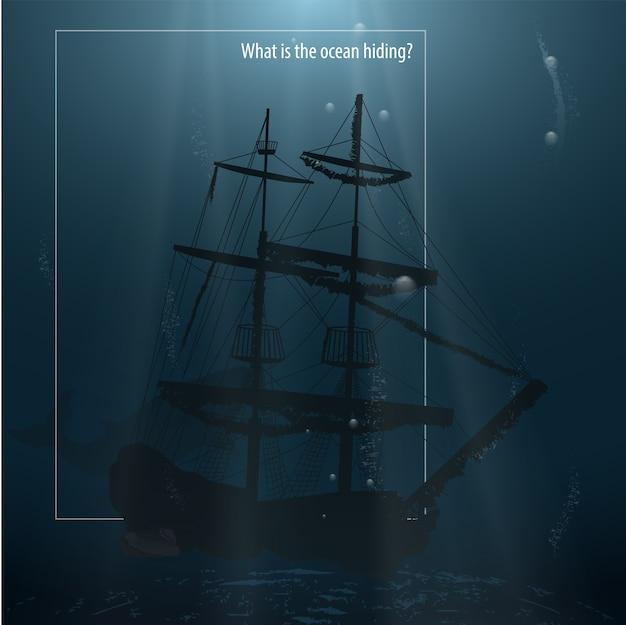 Versunkenes schiff an der unterseite des ozeans.