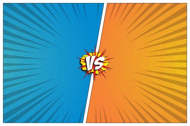 Versus battle-vorlage mit zwei tafeln im retro-comic-stil. halbton und radiale linien hintergrund