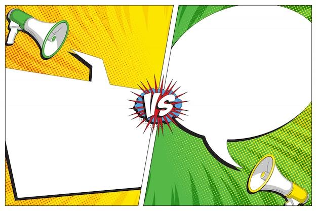 Versus battle-vorlage mit zwei tafeln im retro-comic-stil. vintage halbton und radiale linien hintergrund