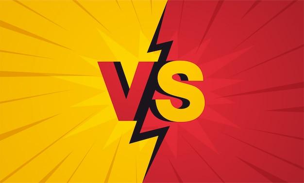 Versus bildschirm. kämpfe hintergründe gegeneinander, gelb gegen rot.