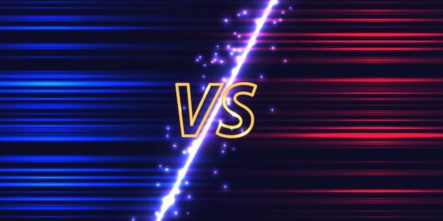 Versus bildschirm mit neon glow effekt